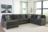 Ashley Ballinasloe Smoke LAF Corner Chaise, Armless Loveseat & RAF Sofa Sectional