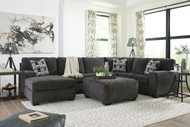Ashley Ballinasloe Smoke LAF Corner Chaise, Armless Loveseat, RAF Sofa Sectional & Ottoman
