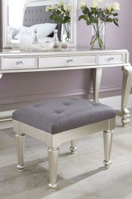 Ashley Coralayne Silver Upholstered Stool