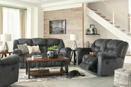Ashley Capehorn Granite REC Sofa, DBL REC Loveseat with Console & Rocker Recliner