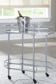 Ashley Kadinburg Silver Finish Bar Cart
