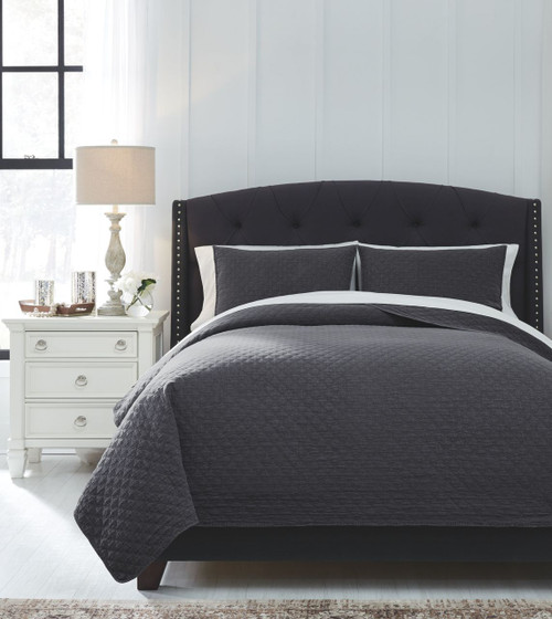 Ashley Furniture Goldsboro Nc: Ashley Ryter Charcoal Queen Coverlet Set On Sale At Red