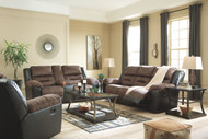 Ashley Earhart Chestnut Reclining Sofa, Double Reclining Loveseat with Console & Rocker Recliner