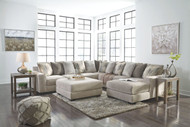Ashley Ardsley Pewter LAF Sofa, Wedge, Armless Loveseat, RAF Corner Chaise Sectional & Accent Ottoman