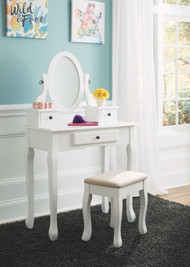 Ashley Kaslyn White Vanity/Mirror/Stool (3/CN)
