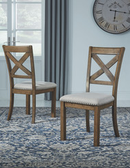 Ashley Moriville Beige Dining Upholstered Side Chair (Set of 2)