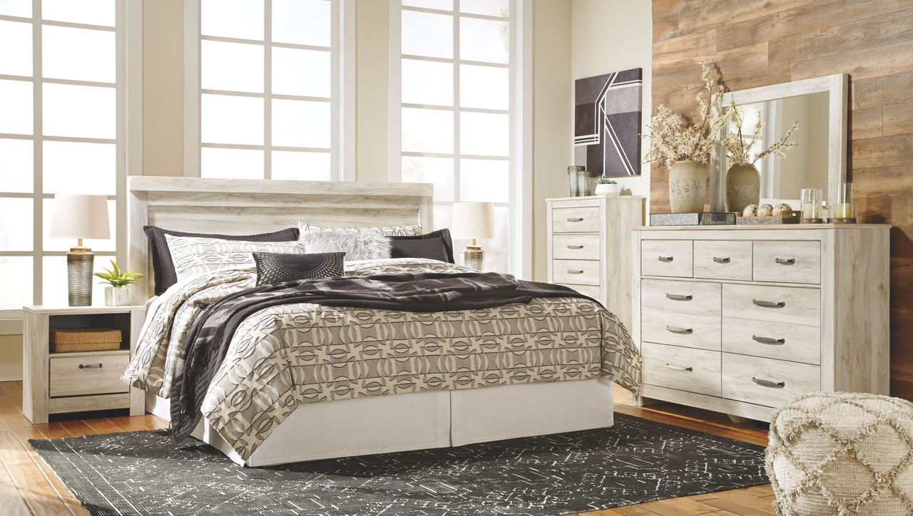 Ashley Bellaby Whitewash 7 Pc Dresser Mirror Chest King Panel Headboard With Bolt On Bed Frame 2 Nightstands