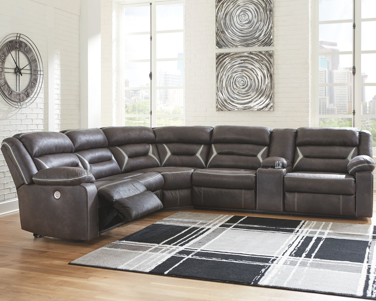 Ashley Kincord Midnight Laf Zero Wall Power Recliner Armless Chair Wedge Raf Reclining Power Sofa Couch With Console Sectional
