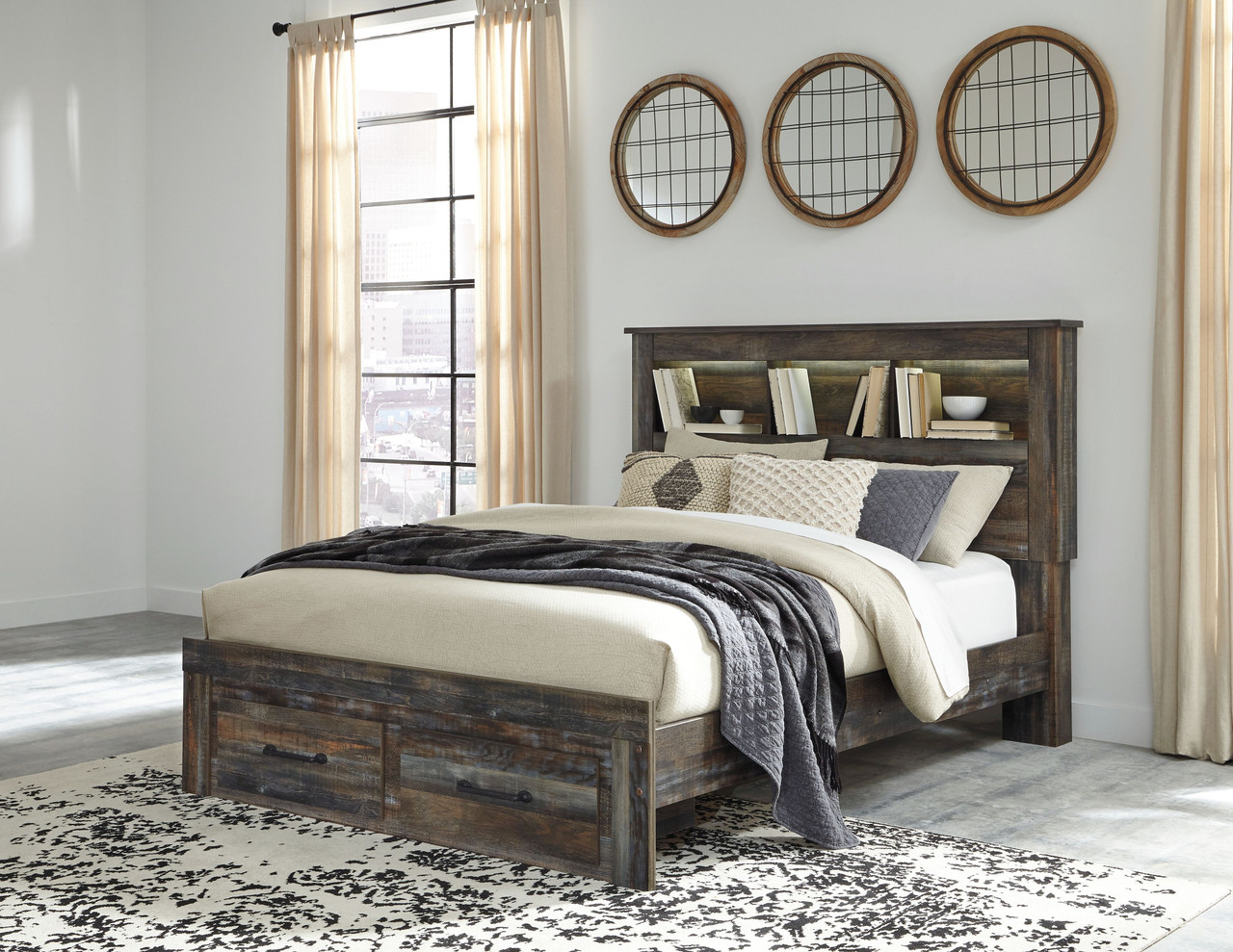 Ashley Drystan Multi Queen Full Bookcase Headboard
