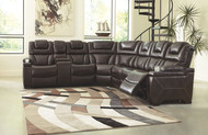 Ashley Warnerton Chocolate LAF Reclining Power Loveseat with Console, Wedge & RAF Reclining Power Sofa/Couch/Couch with Console Sectional