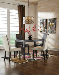 Kimonte 5 Pc. Rectangular Dining Room Table, 2 Ivory Upholstered Side Chairs & 2 Brown Upholstered Side Chairs