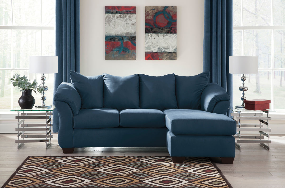 Miraculous Ashley Darcy Blue Sofa Chaise Onthecornerstone Fun Painted Chair Ideas Images Onthecornerstoneorg