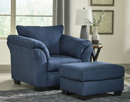 Ashley Darcy Blue Chair with Ottoman