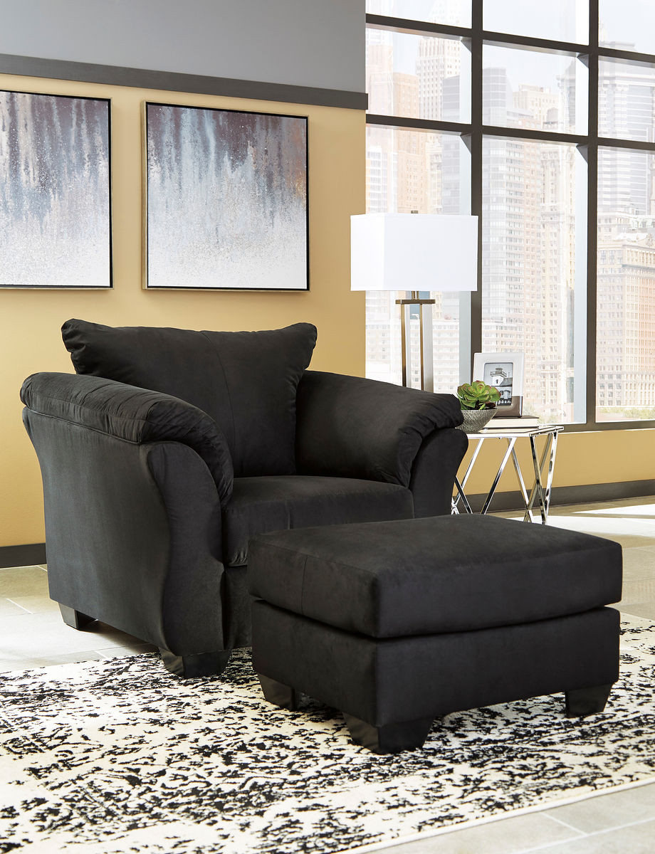 Home · living room · accent chairs ashley darcy black chair with ottoman image 1