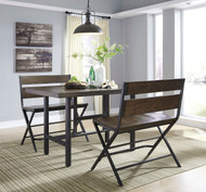 Ashley Kavara Medium Brown 3 Pc. Rectangular Dining Room Counter Table & 2 Double Barstools