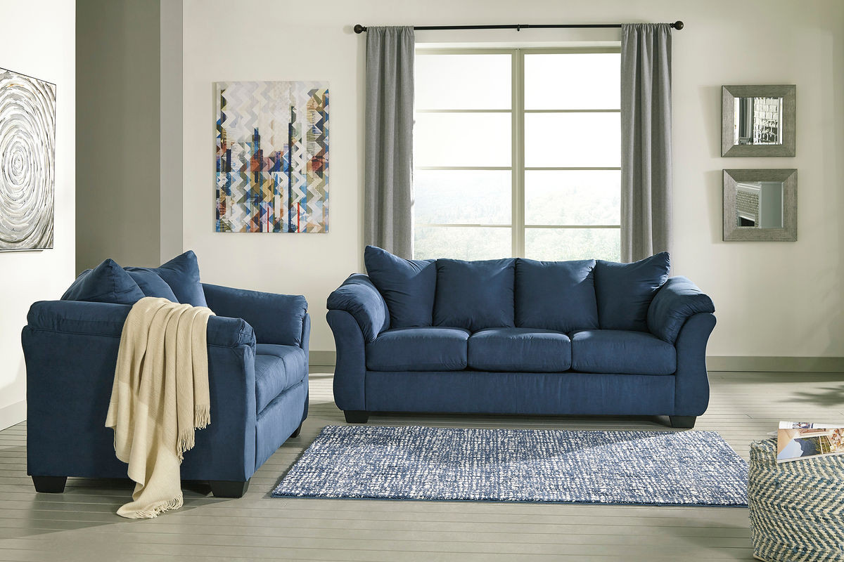 Stupendous Ashley Darcy Blue Sofa Loveseat Ibusinesslaw Wood Chair Design Ideas Ibusinesslaworg