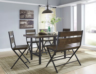 Ashley Kavara Medium Brown 6 Pc. Rectangular Dining Room Counter Table, 4 Barstools & Double Barstool