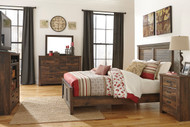 Quinden Dark Brown 5 Pc. Dresser, Mirror & Queen Panel Bed