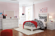 Dreamur Champagne Dresser, Mirror, Twin Panel Bed & Nightstand