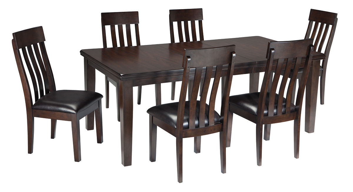 The Haddigan Dark Brown 7 Pc Reclining Dining Room Extension Table