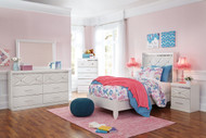 Dreamur Champagne Dresser, Mirror, Chest & Twin Panel Bed