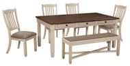 Ashley Bolanburg Antique White 6 Pc. Rectangular Dining Room Table, 4 Upholstered Side Chairs & Upholstered Dining Room Bench