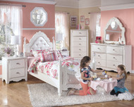 Exquisite White 4 Pc. Dresser, French Style Mirror & Twin Padded Poster Bed