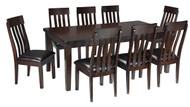 Haddigan Dark Brown 9 Pc. Rectangular Dining Room Extension Table & 8 Upholstered Side Chairs