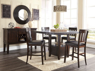 Haddigan Dark Brown 6 Pc. Rectangular Dining Room Counter Extension Table, 4 Upholstered Barstools & Server