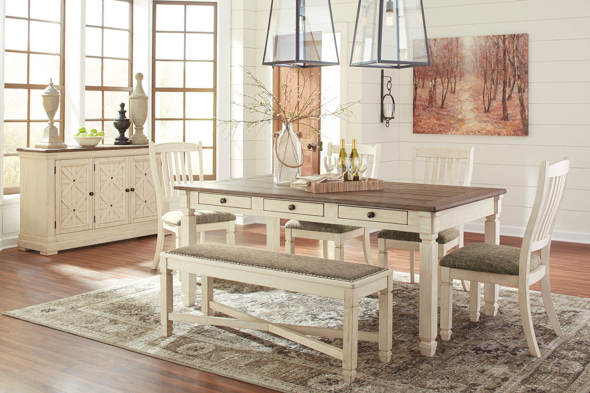 Ashley Bolanburg Antique White 7 Pc. Rectangular Dining Room Table, 4  Upholstered Side Chairs, Upholstered Dining Room Bench & Dining Room Server