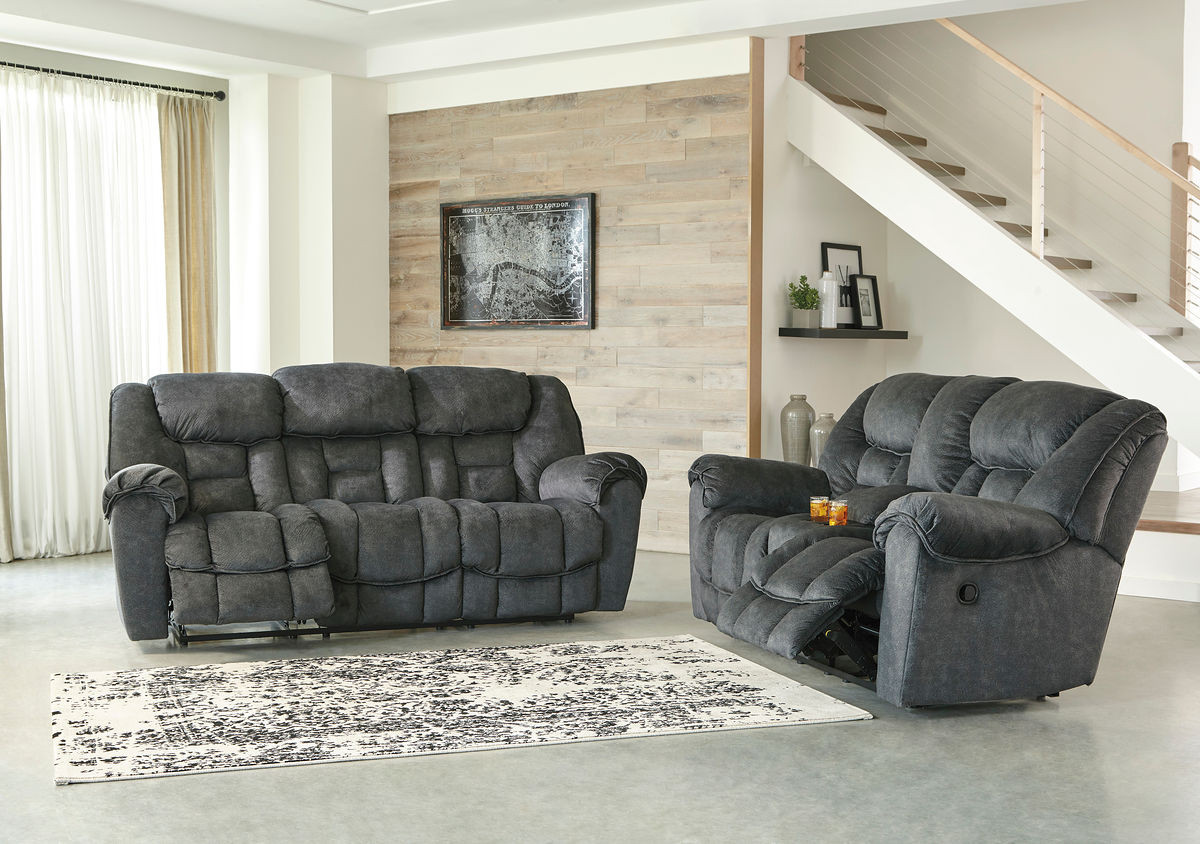 Ashley Capehorn Granite Reclining Sofa Double Reclining Loveseat With Console