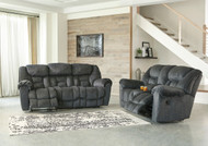 Ashley Capehorn Granite Reclining Sofa & Double Reclining Loveseat with Console