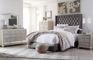 Ashley Coralayne Silver 5 Pc. Dresser, Mirror, Queen Upholstered Bed & Nightstand