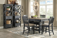 Ashley Tyler Creek Black/Gray 7 Pc. Rectangular Dining Room Counter Table, 4 UPH Barstools & 2 Display Cabinets