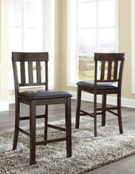 Haddigan Dark Brown Upholstered Barstool(Set of 2)