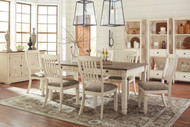 Ashley Bolanburg Antique White 11 Pc. Rectangular Dining Room Table, 6 Upholstered Side Chairs, Dining Room Server & 3 Display Cabinets