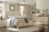 Ashley Bolanburg Two-tone 7 Pc. Dresser, Mirror, Queen Louvered Bed & 2 Nightstands
