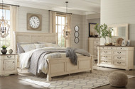 Ashley Bolanburg Two-tone 7 Pc. Dresser, Mirror, King Panel Bed & 2 Nightstands