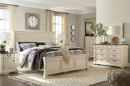 Ashley Bolanburg Two-tone 7 Pc. Dresser, Mirror, King Louvered Bed & 2 Nightstands