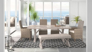 Ashley Beachcroft Beige Dining Set with Bench, 2 Side Chairs & 2 Arm Chairs