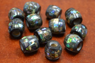12 Pcs Round Abalone Shell Mosaic Loose Beads 14mm