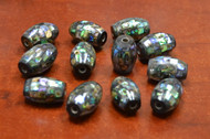 12 Pcs Round Abalone Shell Mosaic Loose Beads 22mm