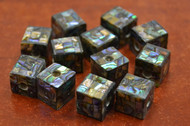 12 Pcs Square Cube Abalone Shell Mosaic Loose Beads 10mm