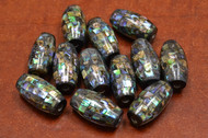 12 Pcs Round Abalone Shell Mosaic Loose Beads 27mm