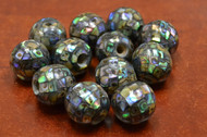 12 Pcs Round Abalone Shell Mosaic Beads 15mm