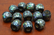 12 Pcs Round Abalone Shell Mosaic Beads 18mm