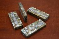 """4 Pcs Rectangle Abalone Shell Mosaic Beads 2 1/4"""""""