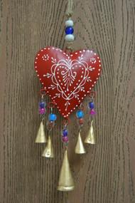 Handmade Red Heart Rusty Iron Metal Windchime