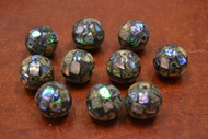 10 Pcs Round Abalone Shell Mosaic Loose Beads 19mm