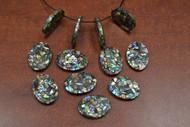 12 Pcs Oval Abalone Shell Mosaic Loose Charms